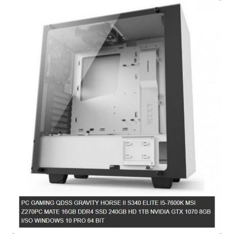 QDSS GRAVITY HORSE II S340 ELITE I5-7600K MSI Z270PC MATE 16GB DDR4 SSD 240GB HD 1TB NVIDIA GTX 1070 8GB WINDOWS 10 PRO 64 BIT