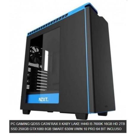 PC GAMING QDSS CATAFRAX II KABY LAKE H440 I5 7600K 16GB HD 2TB SSD 250GB GTX1080 8GB SMART 630W I/WIN 10 PRO 64 BIT INCLUSO
